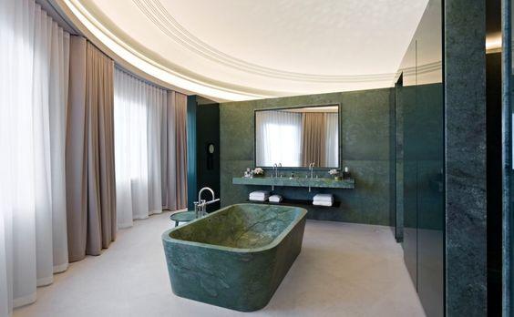 Vannitoasisustus rohelisest marmorist Verde Guatemala
