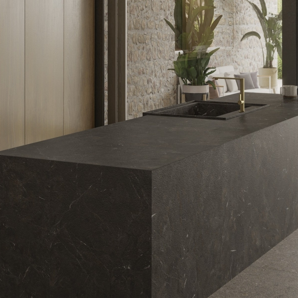 Kitchen island made of ceramic material Umbra Marron
