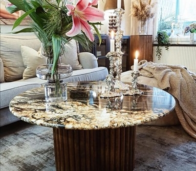 Coffee table for private client made with granite Black Taurus