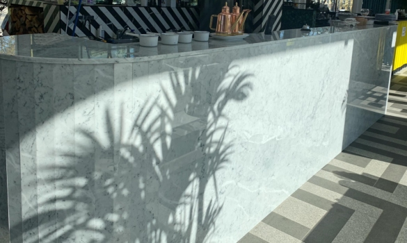 Bar top made with marble