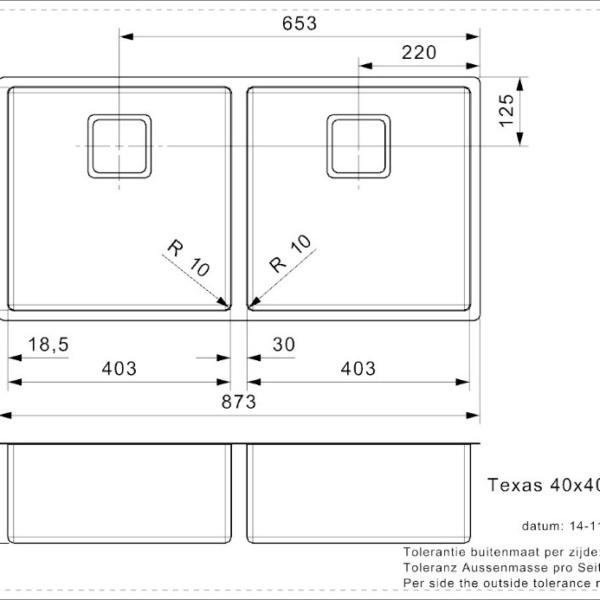 Tiskiallas Reginox Texas 40x40+40x40 joonis