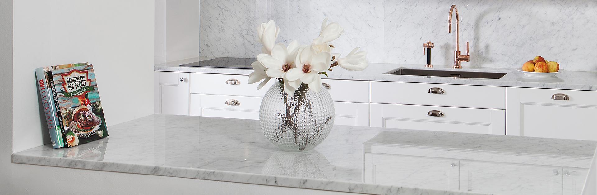 Köksbänkskiva i marmor Carrara C