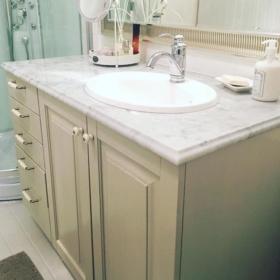A bathroom vanitytop made of marble Carrara