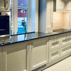 A kitchen countertop made of granite Silver Pearl